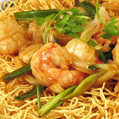 Crispy pan fried noodles w/ seafood