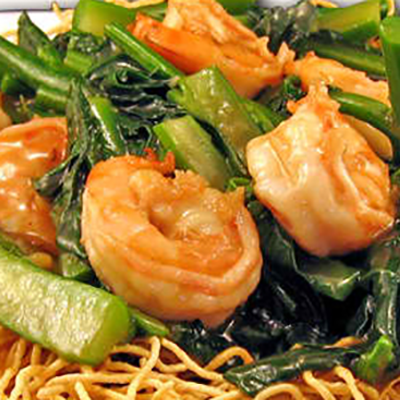 Crispy pan fried noodles w/ shrimp